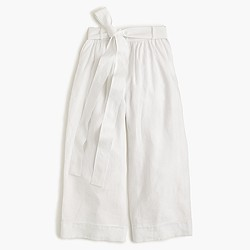 Collection high-waisted culotte pant in Italian linen