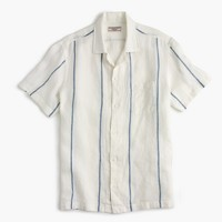 Wallace & Barnes camp-collar Irish linen shirt in indigo blanket stripe