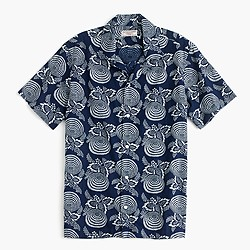 Wallace & Barnes camp-collar Japanese cotton shirt in indigo discharge print