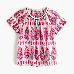 Girls' floral gauze peasant top