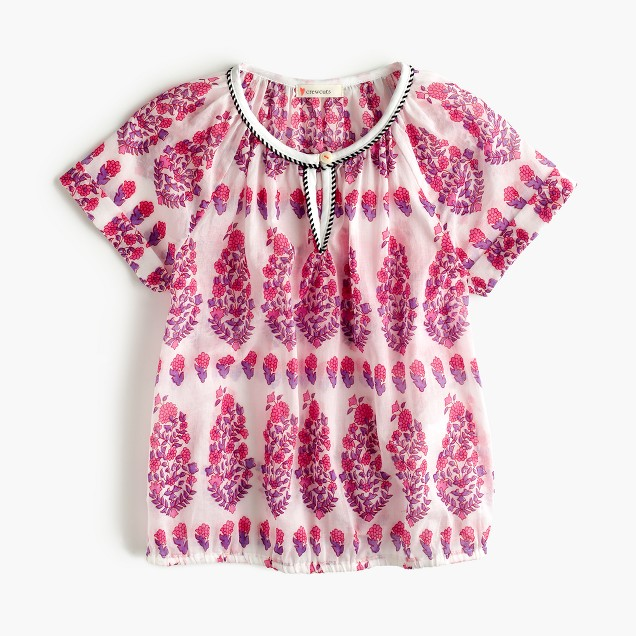 Girls' floral gauze peasant top