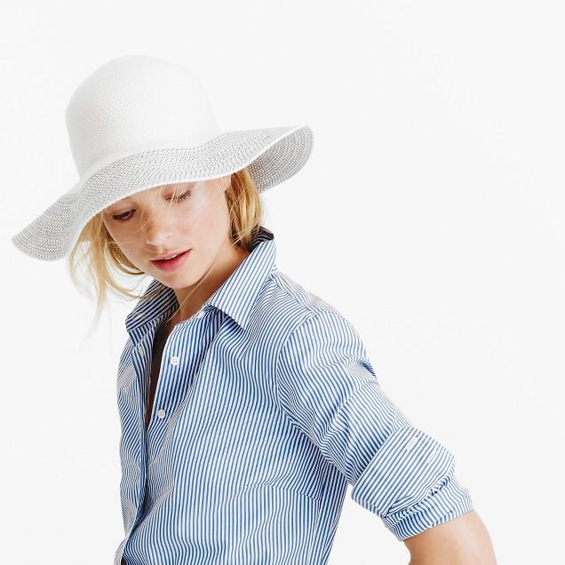 Contrast-brim hat in cotton