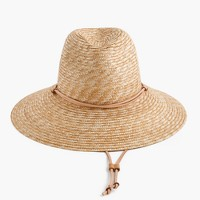 Wide-brim hat with leather trim