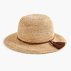 Straw hat with tassels