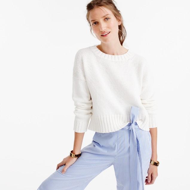 Cotton rib-trim crewneck sweater