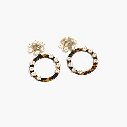 Tortoise and flower hoop earrings
