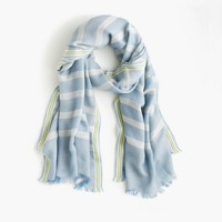 Embroidered stripe scarf