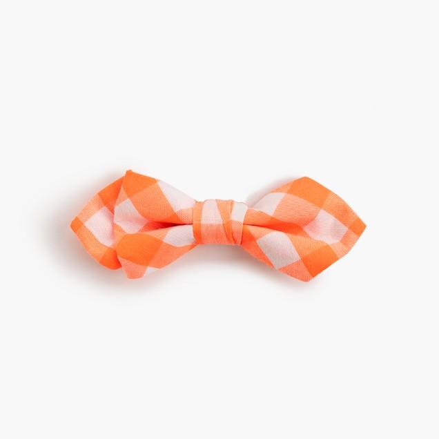 Boys' cotton bow tie in neon orange gingham