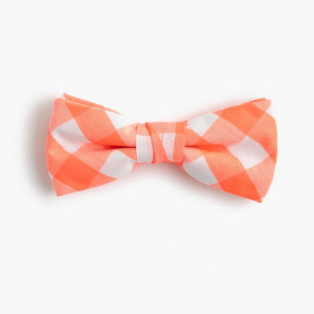 Boys' cotton bow tie in neon orange gingham