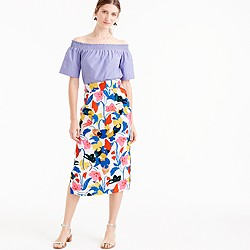 Pintucked midi skirt in morning floral