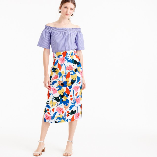 Petite pintucked midi skirt in morning floral