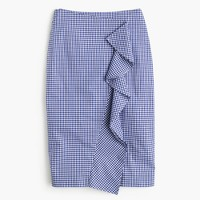 Thomas Mason® for J.Crew ruffle skirt in gingham