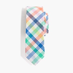 Boys' cotton tie in blue tattersall