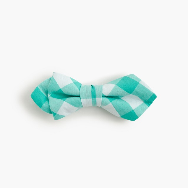 Boys' cotton bow tie in green gingham