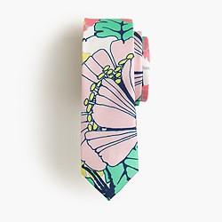 Boys' silk tie in pink multi print