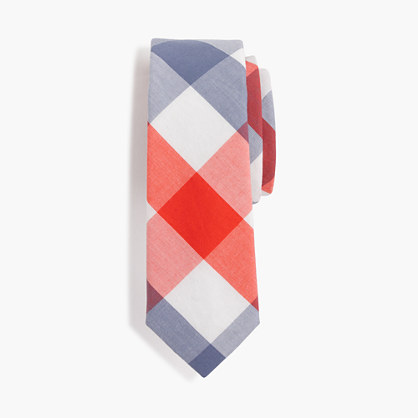 Boys' cotton tie in blue multi-check