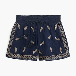 Embroidered short in gauzy cotton