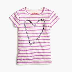 Girls' gem heart striped T-shirt