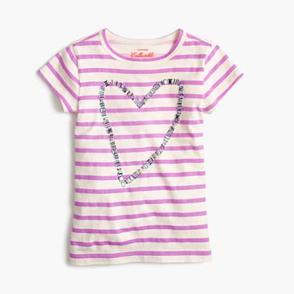 Girls' gem heart striped T-shirt