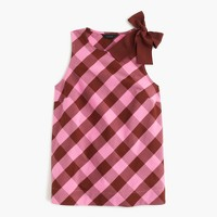 Bow-shoulder top in oversized gingham