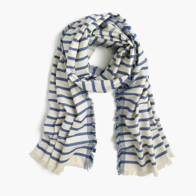 Yarn-dyed striped scarf