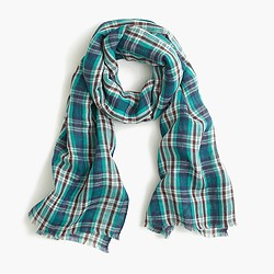 Teal plaid scarf