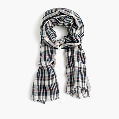 Yarn-dyed plaid scarf