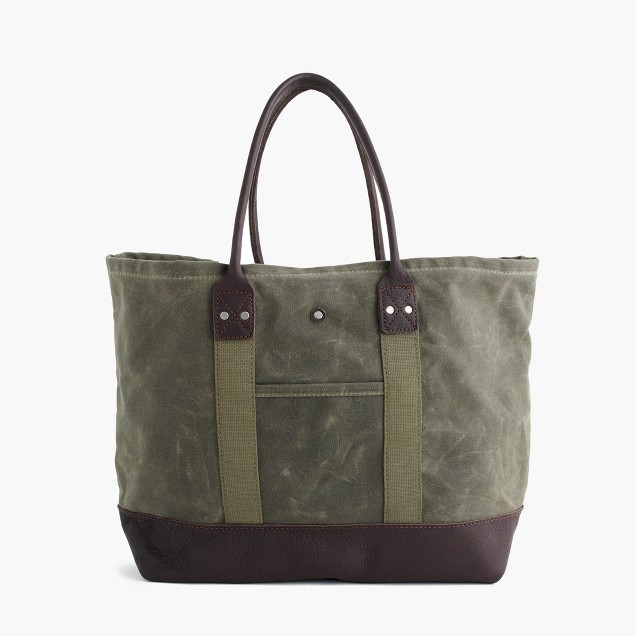 Billykirk® waxed canvas tote bag in olive