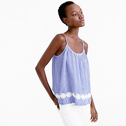 Embroidered swing cami in stripe