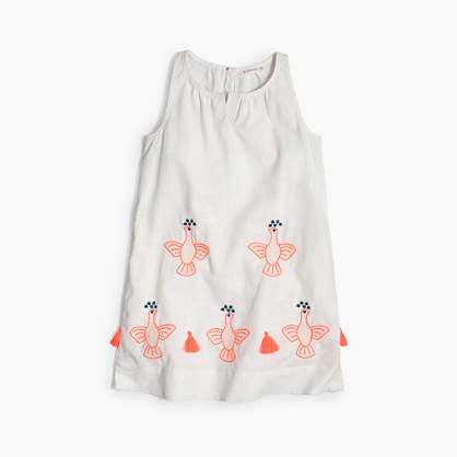 Girls' embroidered bird tank dress