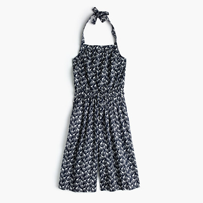 Girls' halter jumpsuit in giraffe print