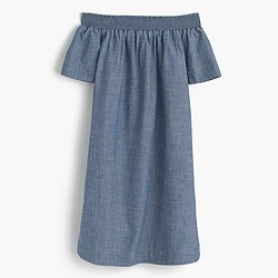 Petite off-the-shoulder dress in chambray
