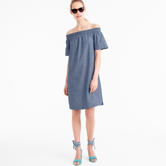 Tall off-the-shoulder dress in chambray