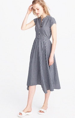 Gingham short-sleeve shirtdress