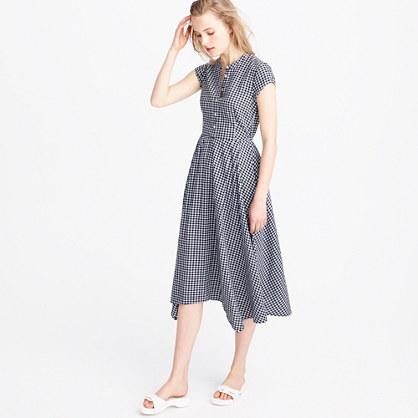 Petite gingham short-sleeve shirtdress