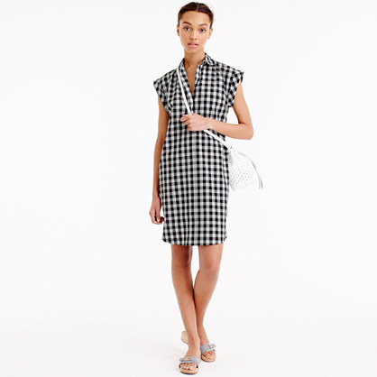 Petite classic short-sleeve shirtdress in gingham