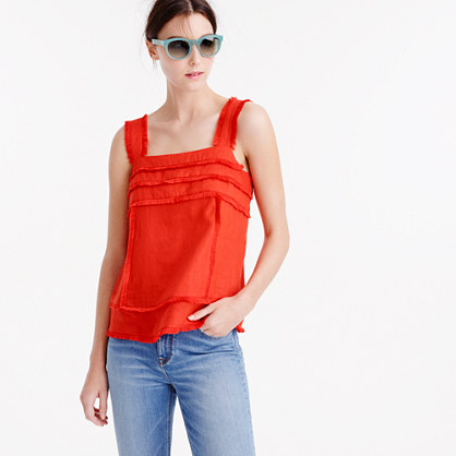 Petite linen tank top with fringe