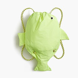 Girls' drawstring fish backpack