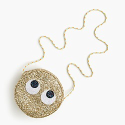 Girls' glitter eye-roll emoji bag