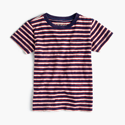 Boys' pocket T-shirt in indigo stripe