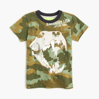Boys' camo T-shirt with glow-in-the-dark lion skull