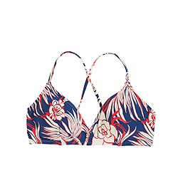 Cross-back French bikini top in retro floral