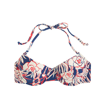 Underwire halter bikini top in retro floral