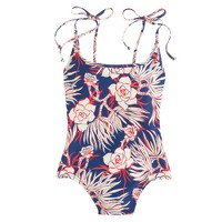 Long-torso tie-shoulder one-piece swimsuit in retro floral