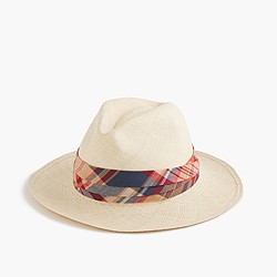 Paulmann™ for J.Crew panama hat with Indian madras band
