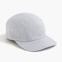 Five-panel seersucker baseball cap