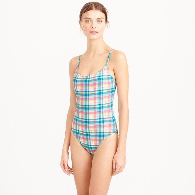 Seamless underwire one-piece swimsuit in vintage plaid