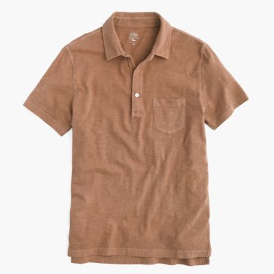 Garment-dyed polo shirt