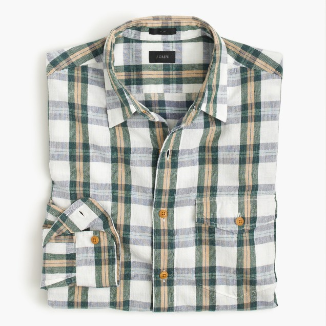 Slim heathered slub cotton shirt in alabaster plaid