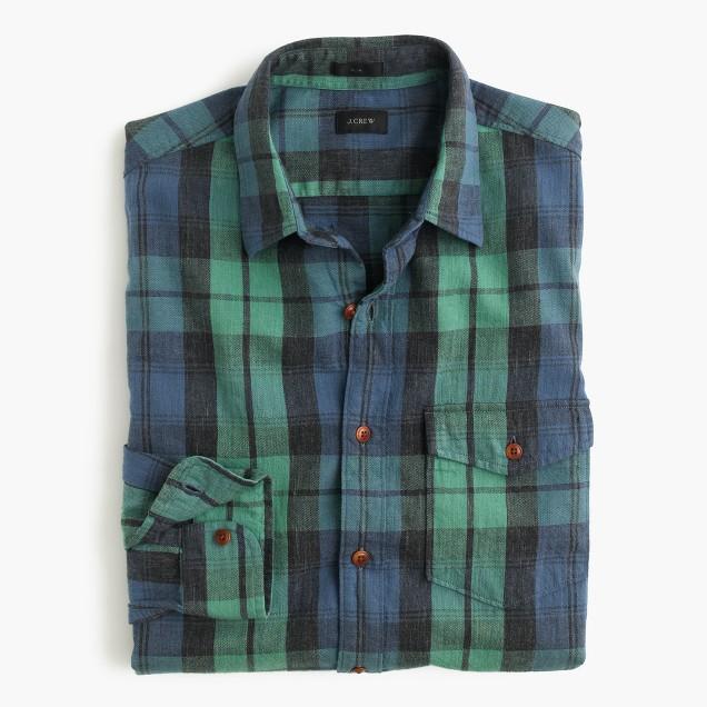 Slim heathered slub cotton shirt in faded Black Watch